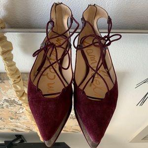 Sam Edelman pointed toe flats in maroon